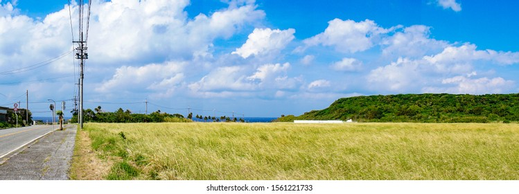 Panoramic landscape of autumn Yonaguni Island, Okinawa, Japan.
