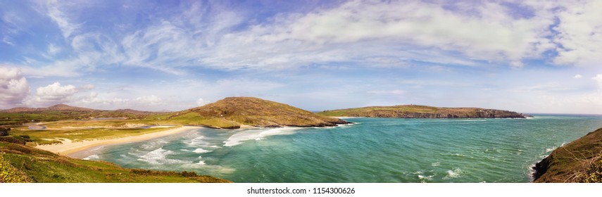 Panoramic landscape with Barleycove beach on a sunny  day in a county Cork. Ireland.
