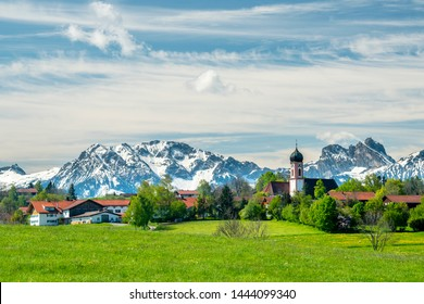 panoramic landscape in Bavaria nearby town Seeg in Allgaeu