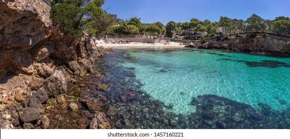 Panoramic landscape. Beach in the Bay on the South coast of Mallorca
