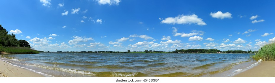 """panoramic landscape with beach by the """"schlei"""" in Schleswig-holstein"""