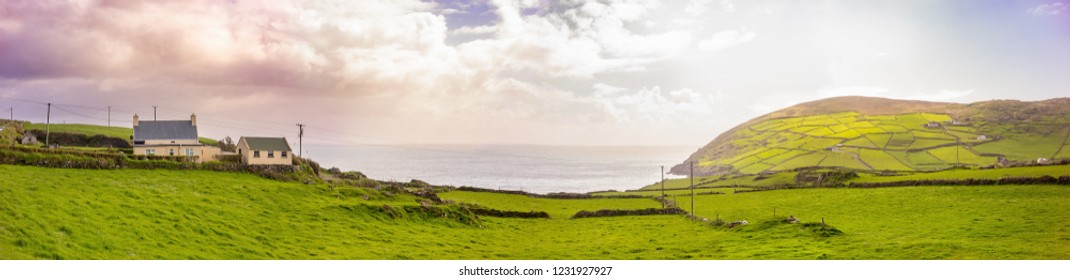 Panoramic landscape in Beara Peninsula. County Cork, Ireland.