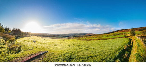 Panoramic landscape with a beautiful sunrise in County Cork. ireland.
