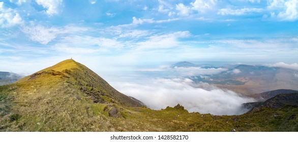 Panoramic landscape of  Brandon Mount in spring. County Kerry, Ireland.