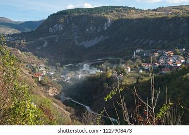 The panoramic landscape of the canyon of the Miljacka river near Sarajevo, Bosnia and Herzegovina