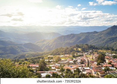 The panoramic landscape of Capulalpam de Mendez village in the highlands of Oaxaca, Mexico. It is one of the Pueblos Magicos? towns