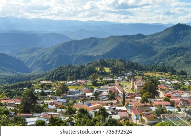 The panoramic landscape of Capulalpam de Mendez village in the highlands of Oaxaca, Mexico. It is one of the Pueblos Magicos towns