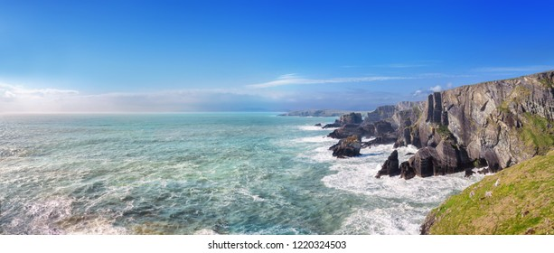 Panoramic landscape of a coast in a southwest of Ireland, Mizen Head