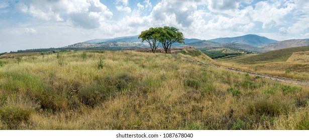 Panoramic landscape of countryside and the Galilee mountains in the Hula Valley, view from Tel Hazor, Northern Israel