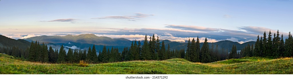 Panoramic landscape. Dawn in mountains