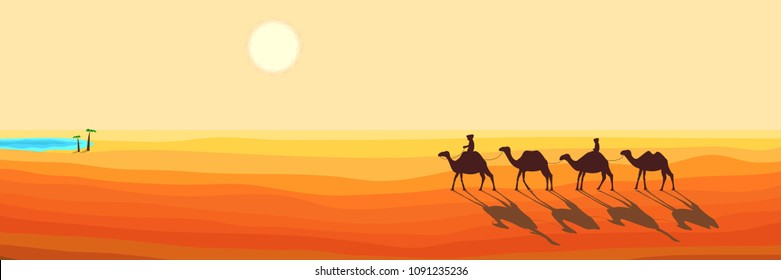 Panoramic Landscape of the Desert. Caravan of Camels Goes to the Arabic Oasis. Silhouette Design in a Flat Style. Raster Illustration