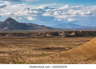 Panoramic landscape of desert and mountains in Gobustan region, Azerbaijan