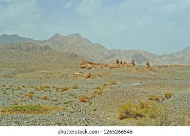 Panoramic landscape dry desert view of Subash Buddhist temple ruins historic site  in Kuqa, Aksu, Xinjiang, China.