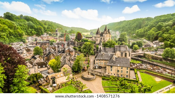 Panoramic landscape of Durbuy, Belgium. Smallest city in the world.