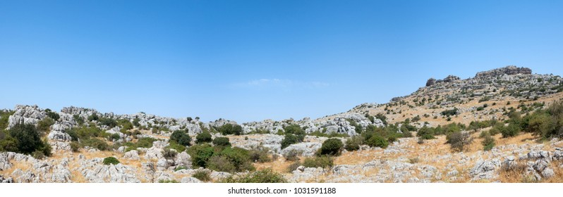 Panoramic landscape of El Torcal de Antequera is a nature reserve in the Sierra del Torcal mountain range located south of the city of Antequera, Malaga, Spain.