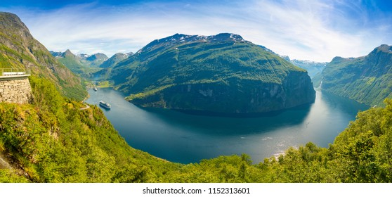 Panoramic landscape of Geiranger fjord from mountain viewpoint, Geirangerfjord in Norway