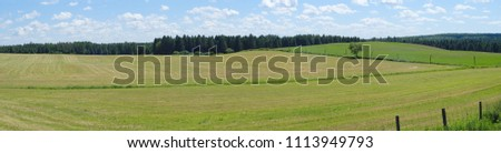 panoramic landscape green field grass country farm rural scene agriculture