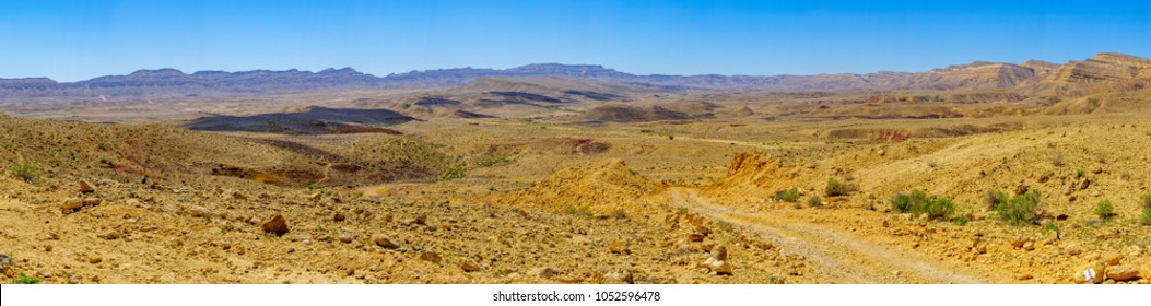 Panoramic landscape of HaMakhtesh HaGadol (the big crater). It is a geological erosional landform in the Negev desert, Southern Israel