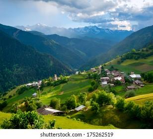Panoramic landscape of Ieli village in Svaneti, Georgia