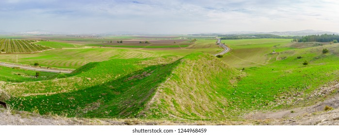 Panoramic landscape of the Jezreel Valley viewed from Megiddo. Northern Israel