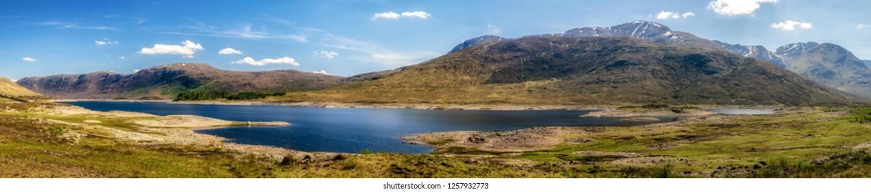 Panoramic landscape. Lake in Glen Shiel, Scotland