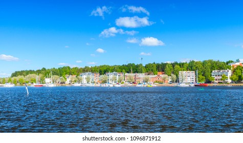 Panoramic landscape of Lappeenranta harbour in summer day, Finland