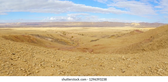 Panoramic landscape of Makhtesh (crater) Ramon (from mount Ardon), in the Negev Desert, Southern Israel. It is a geological landform of a large erosion cirque