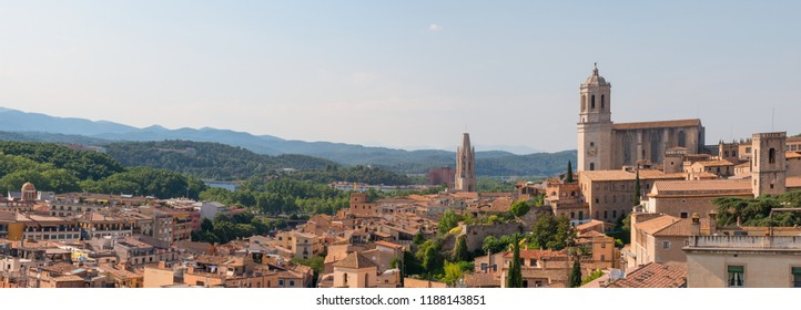 Panoramic landscape of the medieval city of Girona with the Cathedral of Girona, Catalonia, Spain.