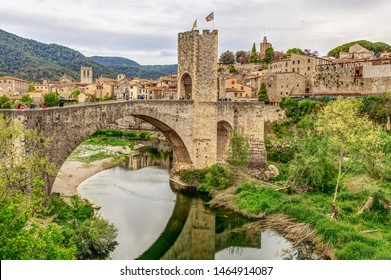 Panoramic landscape of Medieval village and castle in Besalu, Costa Brava, Spain. Besalu is a famous tourist destination in Spain, South Europe. Nice place for tourism near Mediterranean Sea