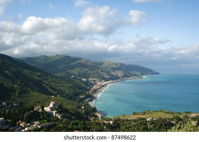 Panoramic landscape of the Mediterranean Sea with aerial view. Sicily. Italy