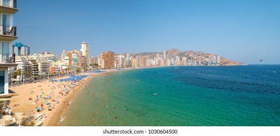 Panoramic landscape of Mediterranean sea and beach Playa de Levante in Benidorm, Alicante, Spain