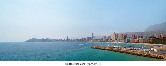 Panoramic landscape of Mediterranean sea and Benidorm city skyline in Alicante, Spain