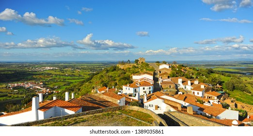 Panoramic landscape from Monsaraz one of the most beautiful villages in Alentejo Portugal southern Europe