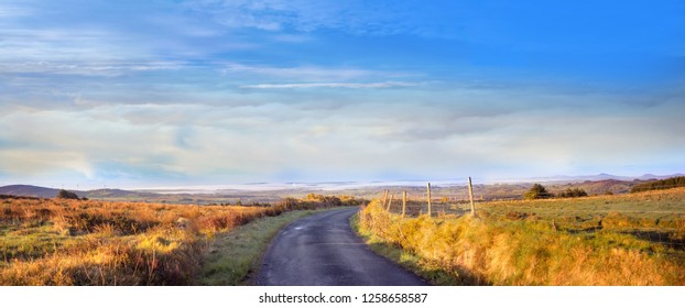 Panoramic landscape in the morning in a county Cork. Ireland.