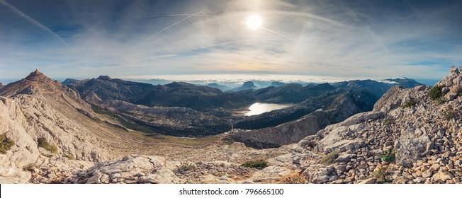 Panoramic landscape of mountains and sea of clouds in Serra de Tramuntana, Puig Major highest mountain in Majorca island, Spain