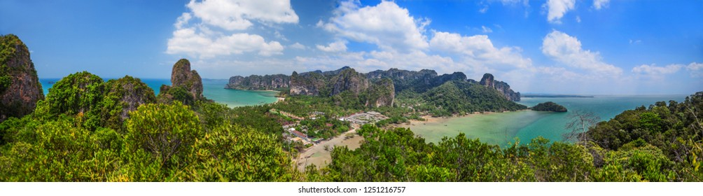 Panoramic landscape. Mountains, sea and sky on Rayleighs peninsula, Krabi, Thailand