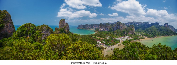 Panoramic landscape with mountains and sky on Rayleigh's peninsula, Krabi, Thailand