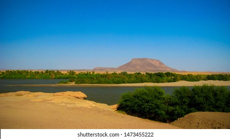 Panoramic landscape with the Nile river near Sai island at Kerma, Sudan