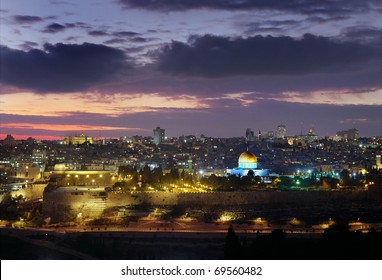 Panoramic landscape of the old city Jerusalem, Israel. With Temple Mount at night
