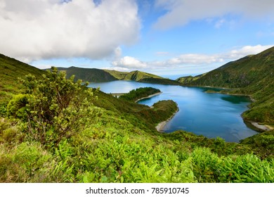 Panoramic landscape overlooking Lagoa do Fogo a beautiful lagoon in the island of Sao Miguel. Azores are one of the main holiday destinations in Portugal, and are located between Europe and America