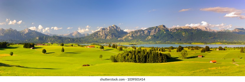 panoramic landscape in region Allgaeu with lake and alps mountain range