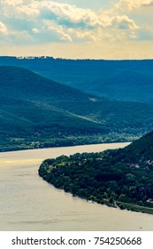 Panoramic landscape of river and mountains, high angle. Scenic view of Danube Bend and Pilis Mountains, Visegrád, Hungary.