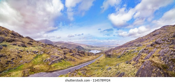 Panoramic landscape with a road to the Glanmore lake.Freshwater lake in the southwest of Ireland. It is located on the Beara Peninsula in County Kerry