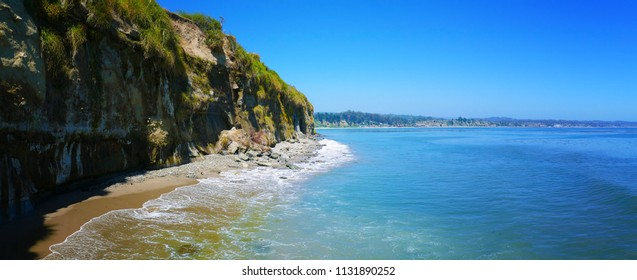 Panoramic landscape of the rocky beach at Capitola, California