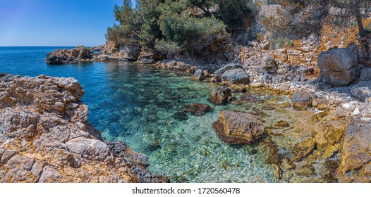 Panoramic Landscape with rocky coast of Mallorca, Spain
