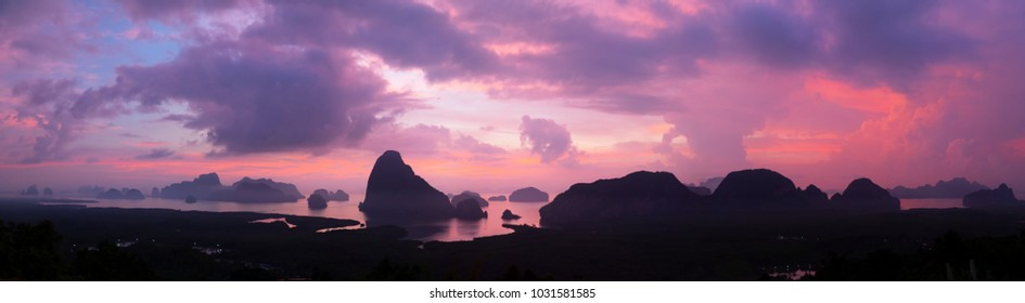 Panoramic landscape of Samed Nangshe viewpoint at sunset time, Phang Nga Bay, Thailand