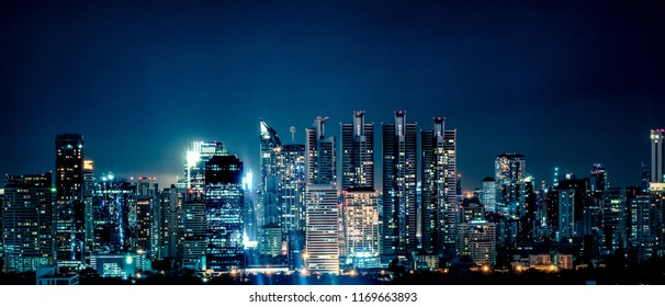 panoramic landscape scenery of buildings and skycrapers in the central business area of Bangkok city at nigjt