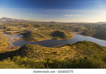 Panoramic Landscape Scenic View of Beautiful Lake Hodges in San Diego County from Summit of Bernardo Mountain in Poway California