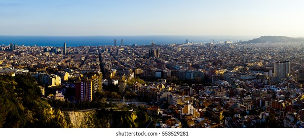 panoramic landscape from sightseeing of barcelona, catalonia, spain,europe.