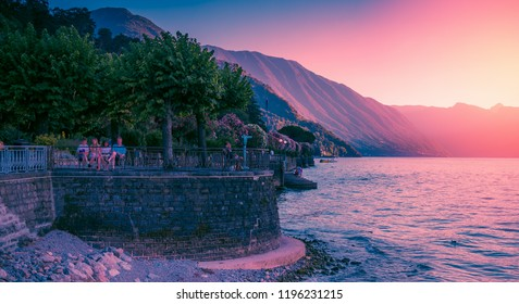 Panoramic landscape of sunset in Bellagio, Como lake, Italy